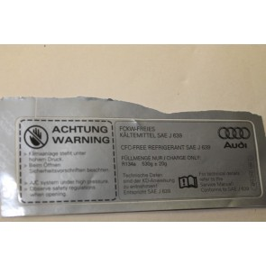 Sticker voor airconditioning Audi A6, S6, Allroad, RS6, RS7 bj 05-heden