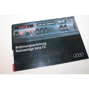 Instructieboekje Radio beta CC duitstalig Div. Audi modellen