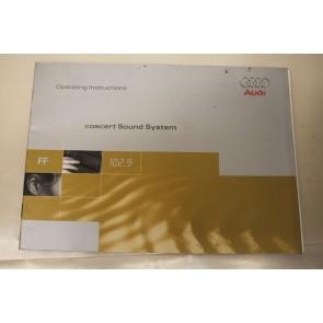 Instructieboekje engelstalig radio Concert Audi A3, S3 Bj 97-01