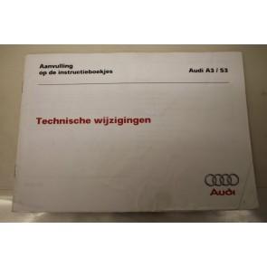 Aanvulling instructieboekje nederlandstalig Audi A3, S3 Bj 97-03