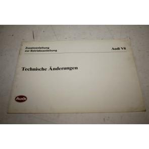 Aanvulling instructieboekje duitstalig Audi V8 Bj 89-94