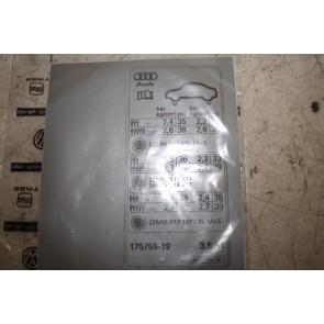 Sticker voor bandenspanning Audi A4 Allroad Bj 10-16