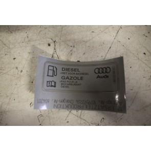 Sticker ''Diesel'' niet voor biodiesel'' div. Audi modellen Bj 07-heden